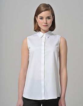 Basic Easy Fit Sleeveless Collared Shirt