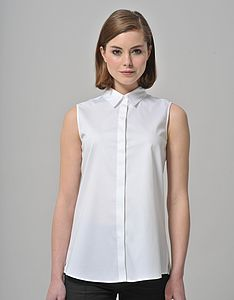 Basic Easy Fit Sleeveless Collared Shirt - tops