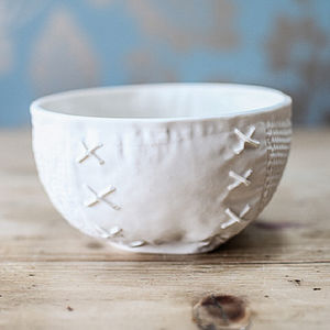 Porcelain Bowl With Textile Design
