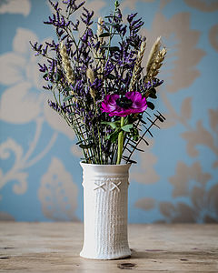 Porcelain Bud Vase With Knitted Design
