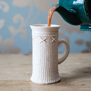 Porcelain Cup With Knitted Design - crockery & chinaware
