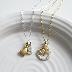 Mixed Metal Initial Charm Necklace - necklaces & pendants