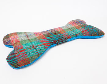 Harris Tweed Bone shaped Heat/Chiller Pad filled with organic buckwheat in Turquoise, red and green check