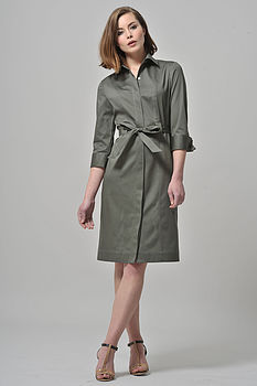 Military Shirt Dress With Belt Military Green