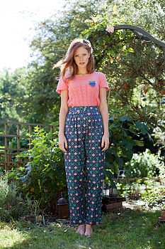 Fruit Check Printed Trousers