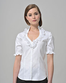Sweetheart Neckline Shirt With Organdie Frill
