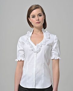 Sweetheart Neckline Shirt With Organdie Frill - tops & t-shirts