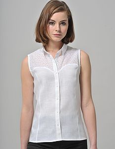 Sleeveless Linen Shirt - women's fashion