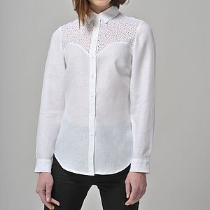 Long Sleeve Linen Shirt Mina - blouses & shirts