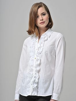 Washed Cotton Frill Front Shirt