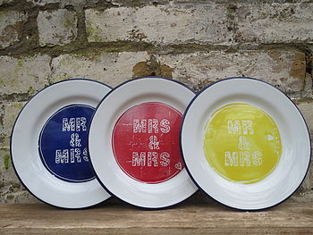 Personalised Enamel Wedding Plate