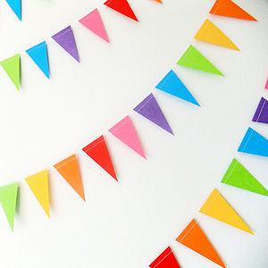 Rainbow Mini Paper Bunting - outdoor decorations