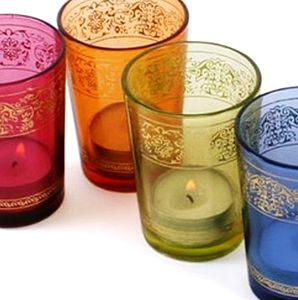Set Of Six Coloured Glass Candle Holders - lights & lanterns