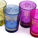 Set Of Six Coloured Glass Candle Holders