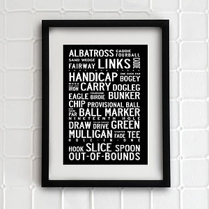 Typographic Golf Print - home accessories