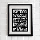 Typographic Golf Print. Seven Sizes, 150 Colours