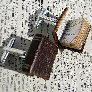 Leather Book Cufflinks - men's jewellery