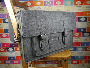 Large Felt Satchel In Three Colour Options - shoulder bags