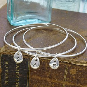 Personalised Initial Beanie Charm Bangle - bracelets & bangles