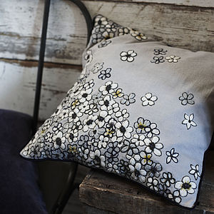 Hanoi Daisy Hand Embroidered Cushion