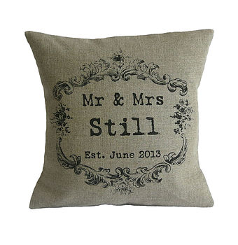 Vintage Style Mr & Mrs linen cushion