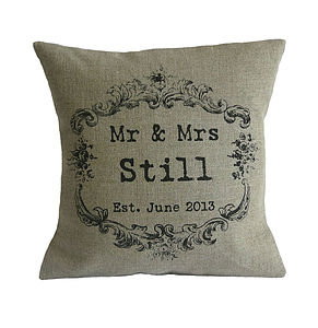 Vintage Style Mr & Mrs Cushion - personalised gifts for her