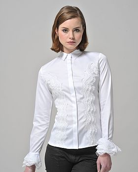 Lace Applique White Shirt