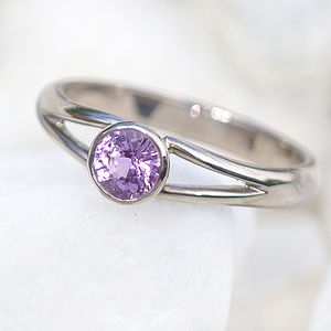 Lilac Pink Sapphire Ring In 18ct Gold - wedding jewellery