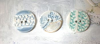 Set Of Three Handmade Porcelain Buttons