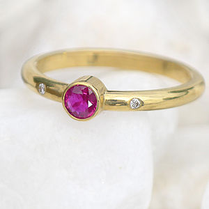 Ruby & Diamond Engagement Ring In 18ct Gold - birthstone jewellery gifts