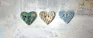 Set Of Three Handmade Heart Buttons