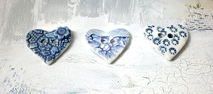 Set Of Three Handmade Heart Buttons In Blues - leisure