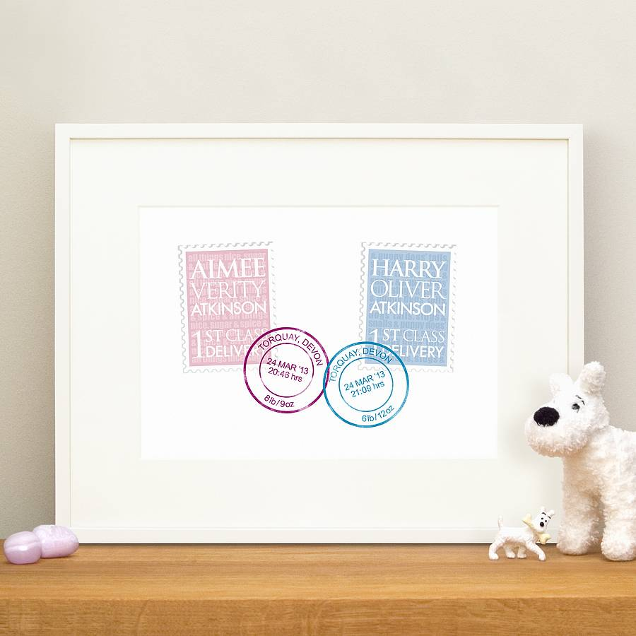 Personalised new baby twins gift and christening print by wordplay twins 1st class delivery pink blue negle Choice Image