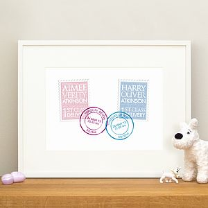 Personalised New Baby Twins Gift And Christening Print - paintings & canvases