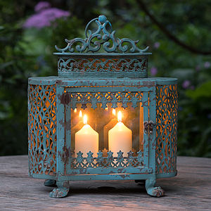 French Blue Antique Style Lantern - cosy outdoor inspiration