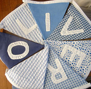Personalised Blue Bunting - baby's room
