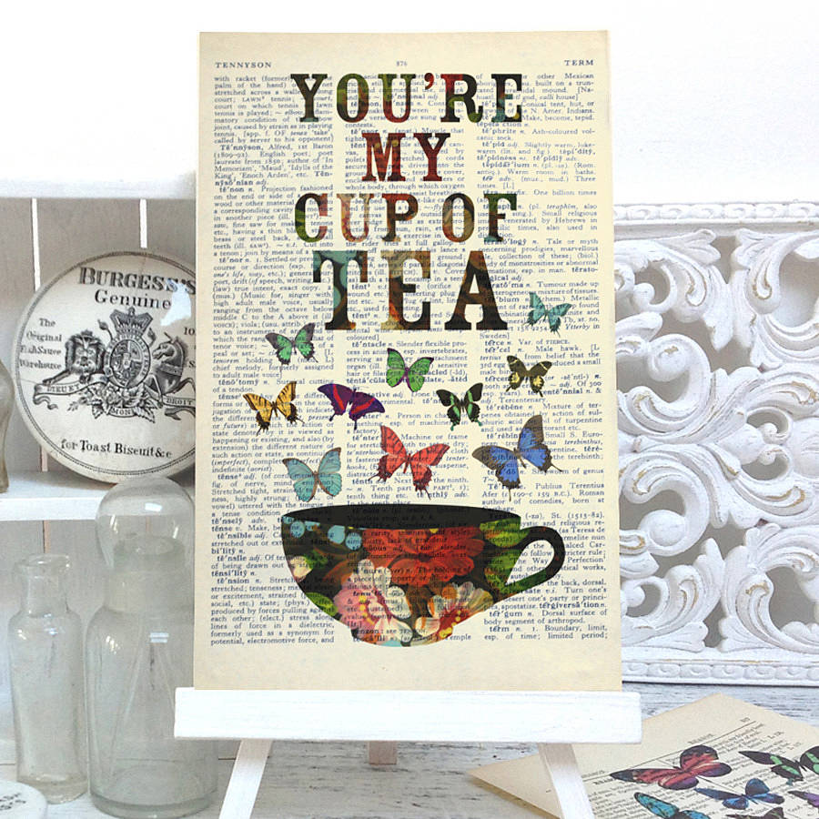 Antique Paper Upcycled Cup Of Tea Art Print By Roo