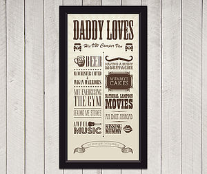 Personalised 'Dad Loves' Circus Poster Print - posters & prints