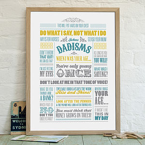 'Dadisms' Personalised Print - personalised gifts for fathers