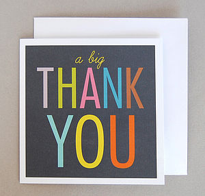Six 'Big Thank You' Cards - thank you cards