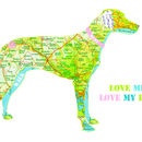 Personalised Weimaraner Map Dog Print