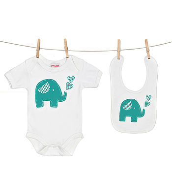 Trumpety Elephant Baby Grow And Bib Gift Set