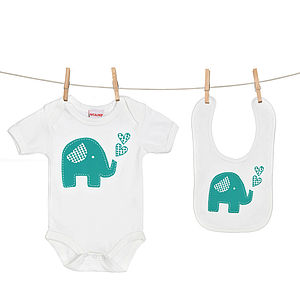 Trumpety Elephant Baby Grow And Bib Gift Set - babygrows