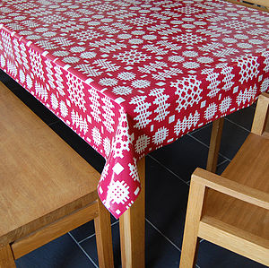 Red Welsh Blanket Print Oilcloth Tablecloth