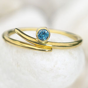 Blue Diamond Ring In 18ct Yellow Gold - birthstone jewellery gifts
