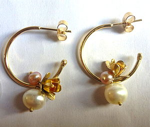 Flower And Pearl Hoop Earrings - earrings