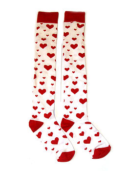 Knee Length Red & White Heart Pattern Socks