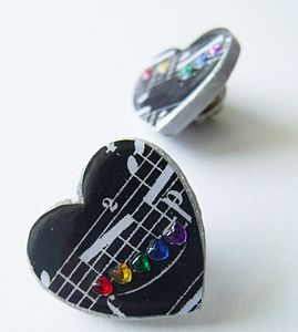 Black Heart Brooch With Rainbow Rhinestones