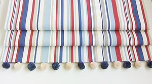Blue Striped Roman Blind - dining room