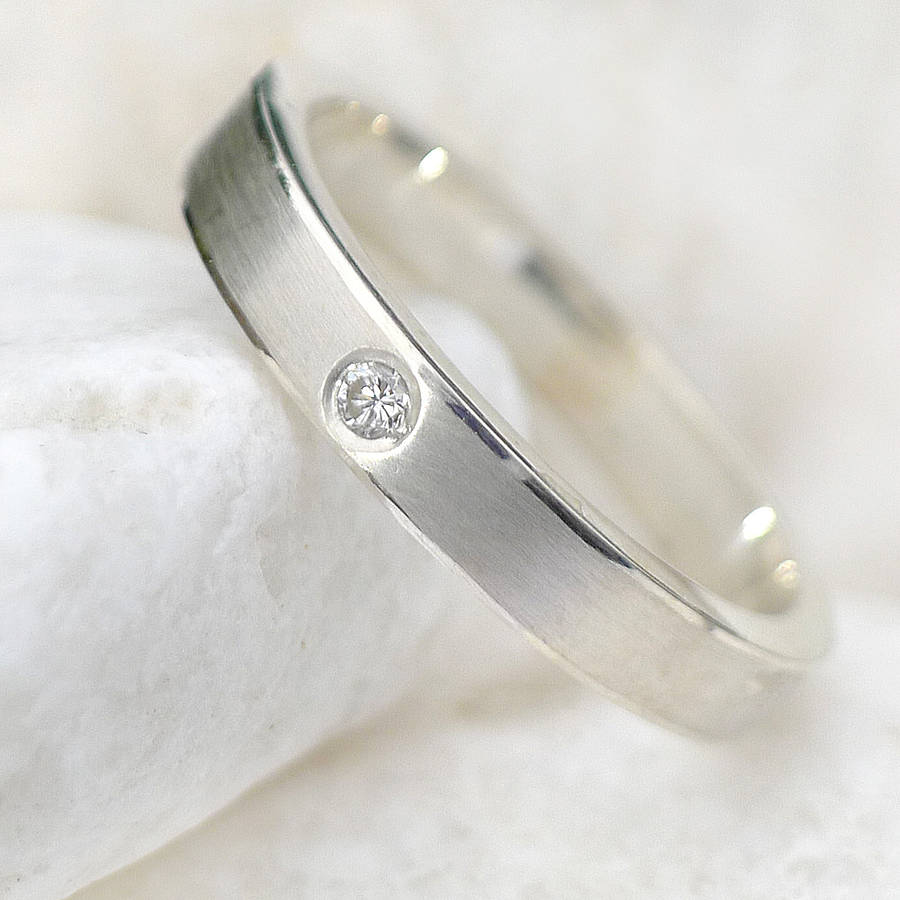 diamond wedding ring in sterling silver - Sterling Silver Diamond Wedding Rings